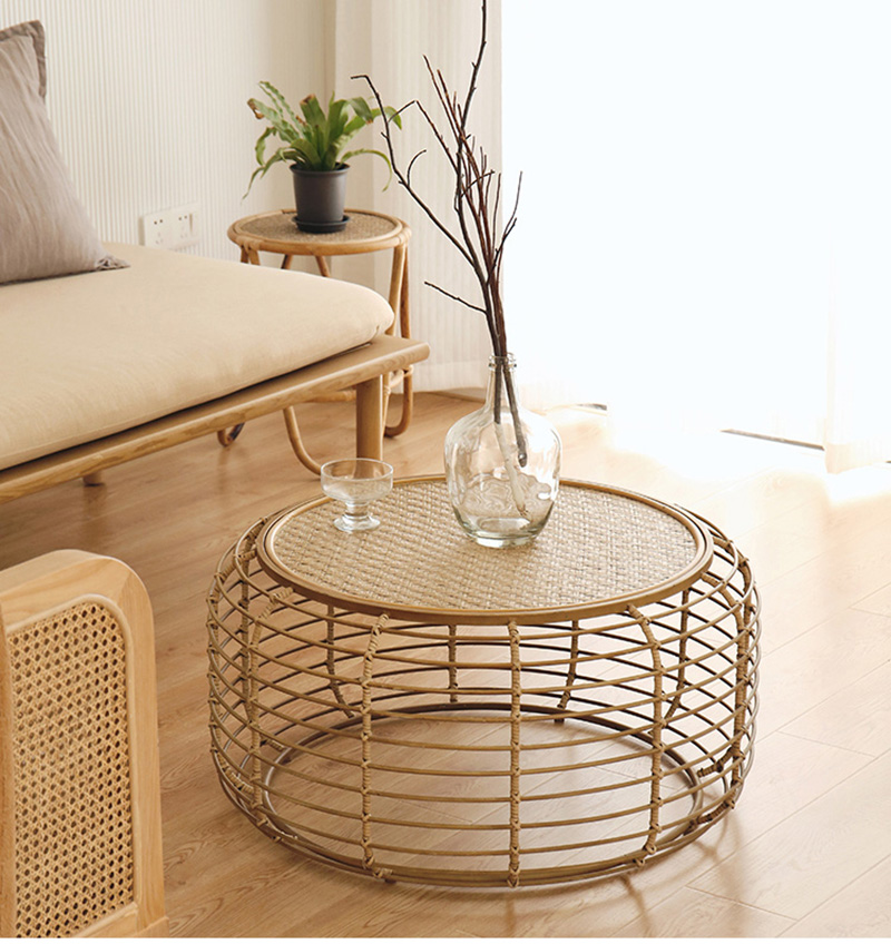 Handmade Rattan Round Coffee Table With Bamboo Woven Tray Mydecorshop