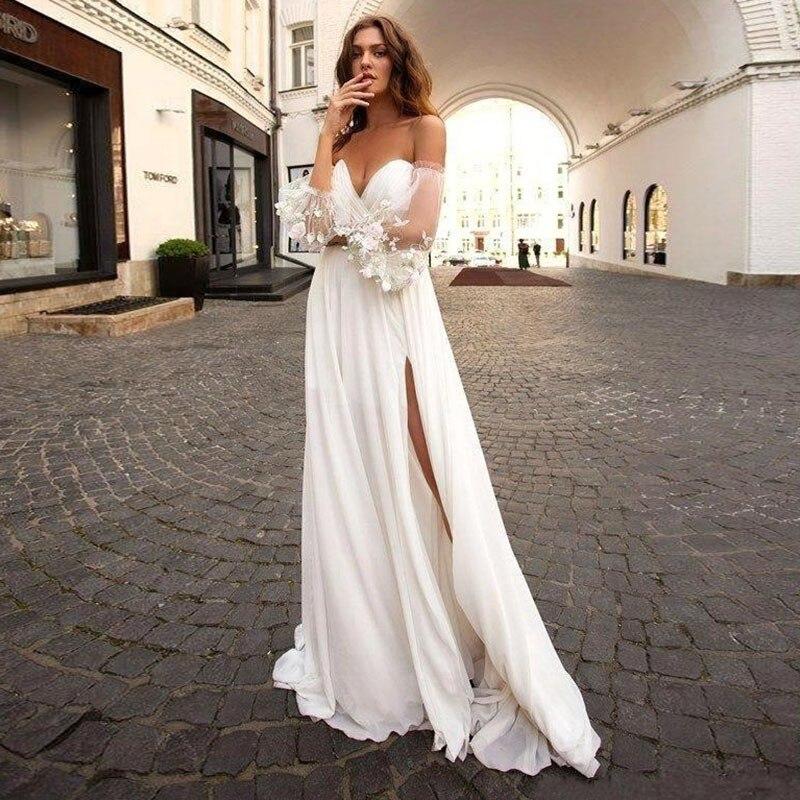 Eightale Beach Wedding Dress Sweetheart Beach Side Split Seperate Sleeve Bohemian Wedding Gowns Backless Vestido De Noiva Sereia