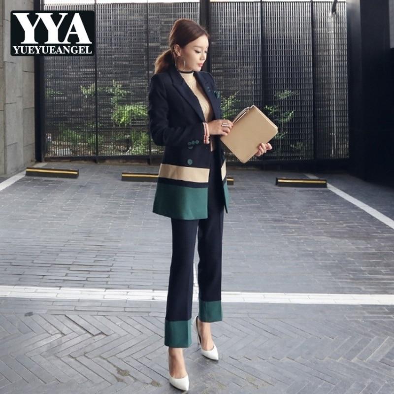Pantsuit 2020 Autumn New Two Piece Long Sleeve Blazer + Fashion Slim Pants Set Women Double Breasted Elegant Ladies Formal Suits