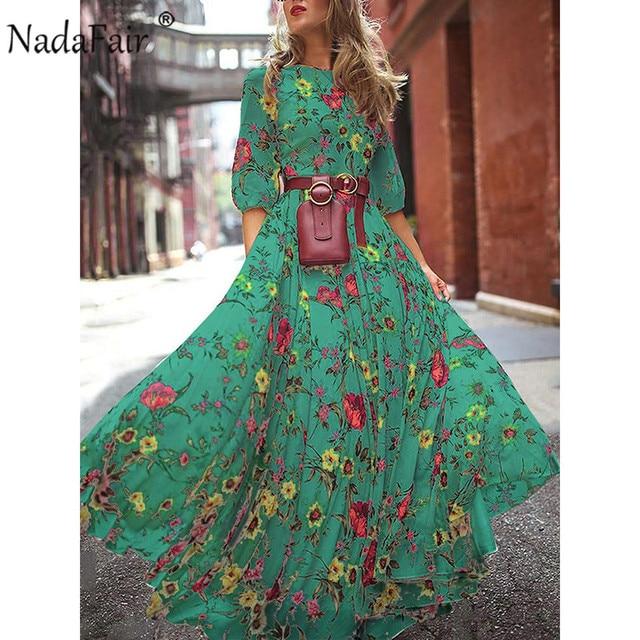 Nadafair Boho Floral Maxi Dress Woman Plus Size High Waist O Neck Printed Elegant Summer Beach Long Dresses Female Vestidos 4