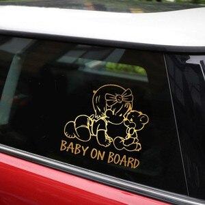 Image 3 - Симпатичные детские наклейки на борту автомобиля, наклейки на окно, стену, дверь, мотоцикл, автомобильные наклейки и Стикеры для стайлинга автомобиля, аксессуары для внешней части автомобиля