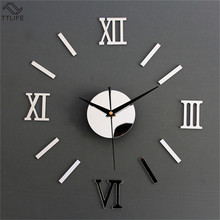TTLIFE Roman Room Scale Wall Clock Acrylic Removable Mirror Stickers Home Decoration Plastic Window Films