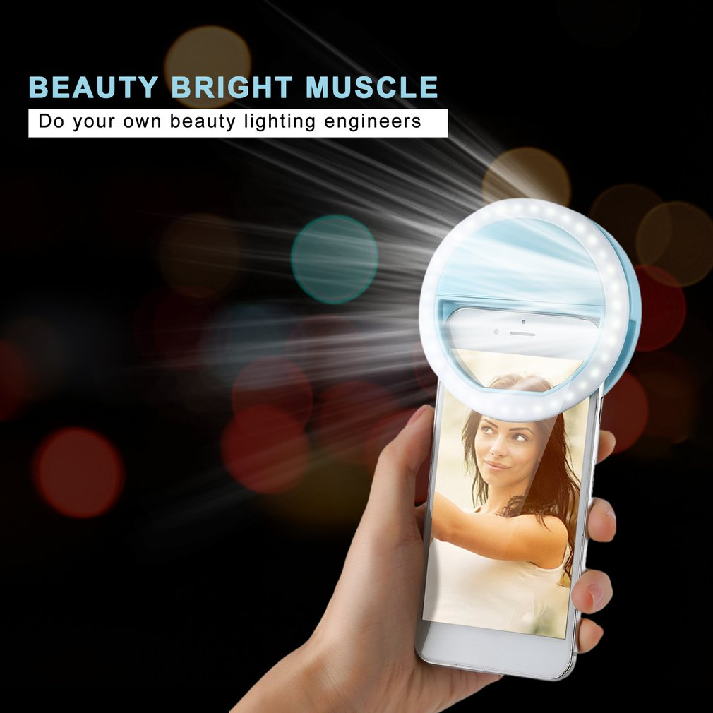 Mobile Phone Clip Selfie LED Auto Flash For Cell Phone Smartphone Round Portable Selfie Flashlight Mini Camera Flashlight