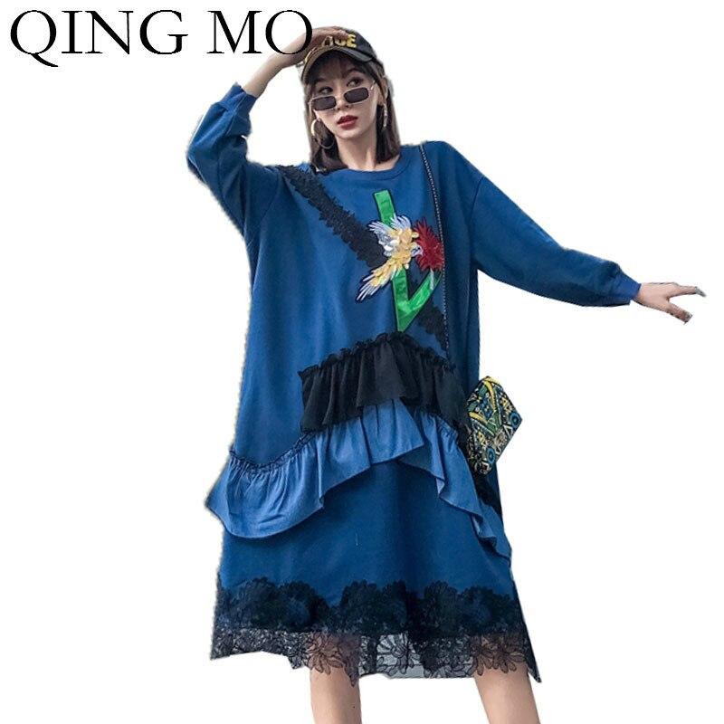 QING MO bleu automne femmes robe 2019 femmes dentelle Patchwork volants robe grande taille Appliques robe Streetwear ZQY1901