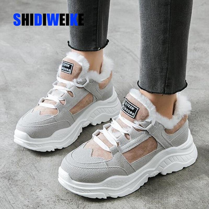 Классические Замшевые женские зимние кроссовки, теплые меховые ботильоны с плюшевой стелькой, женская обувь, хит продаж, женская обувь n562, 2020|Зимние сапоги| | АлиЭкспресс