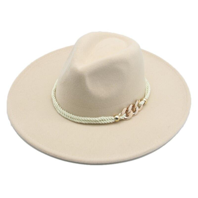 Big Brim Winter Hats 9.5cm Solid Color Khaki Winter Women Hats Wide Brim Formal Fedora Felted Hats Women Hats Sombreros De Mujer