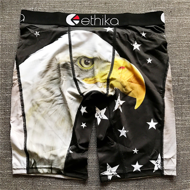 Ethika Male Underpants Brand Sport Underwear Men Breathable Polyester Spandex Boxer Long Man Cartoon Print Mens Boxers Long Leg