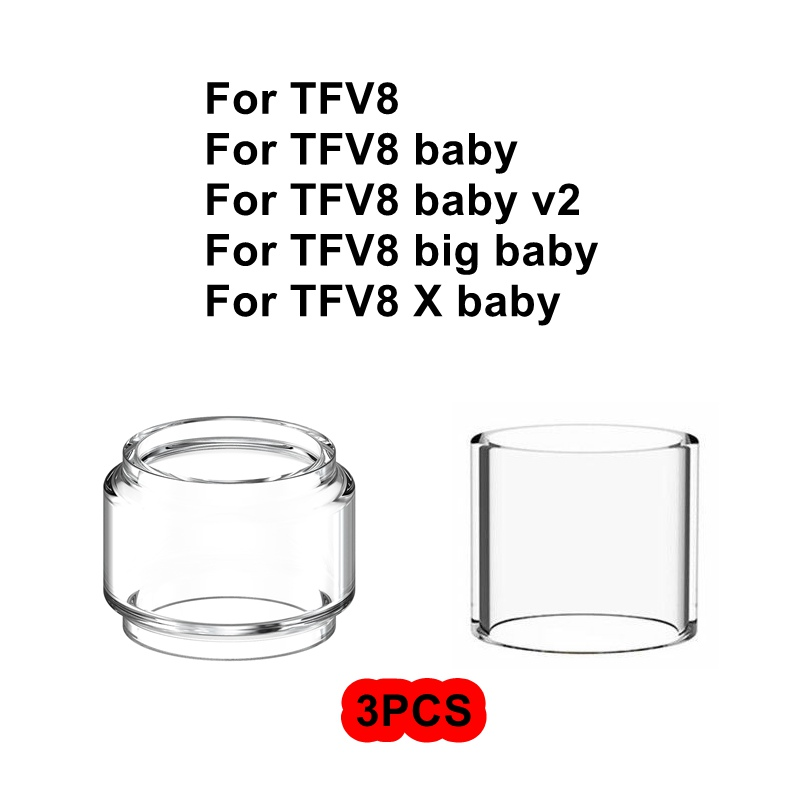 3PCS Pack Replacement Pyrex Glass Tube Tank For Smok TFV8 Big X Baby V2 EU 2ml Tank Atomizer Standard Edition