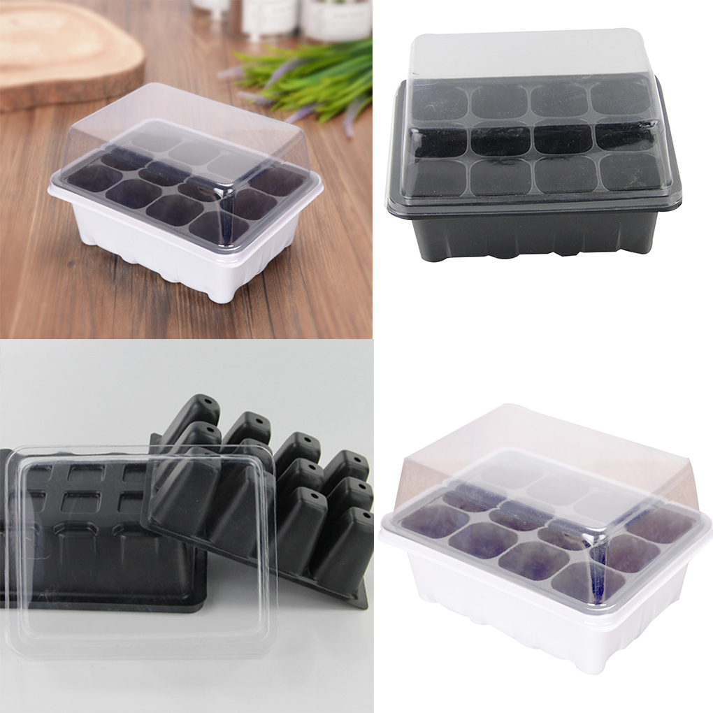 3 Pcs/Set 12 Cells Seedling Trays Seed Starter Box Plant Flower Grow Starting Germination Pot For Gardening Bonsai - White/Black