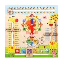 Reloj educativo de madera para niños y bebés, rompecabezas Montessori, juguete cognitivo