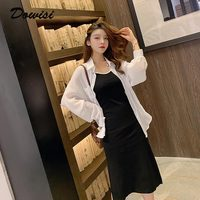 Dowisi girls clothes suit summer women 2 piece set clothing white blouse & black strap dress female autumn full sleeve tops dres