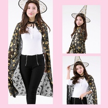 Halloween Costume Witch Cloak Masquerade Cosplay Cape Hat Set  Party Stage Props
