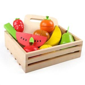 Image 5 - En bois bébé cuisine jouets semblant jouer coupe gâteau jouer nourriture enfants jouets en bois fruits cuisson anniversaire cadeaux intérêts jouet