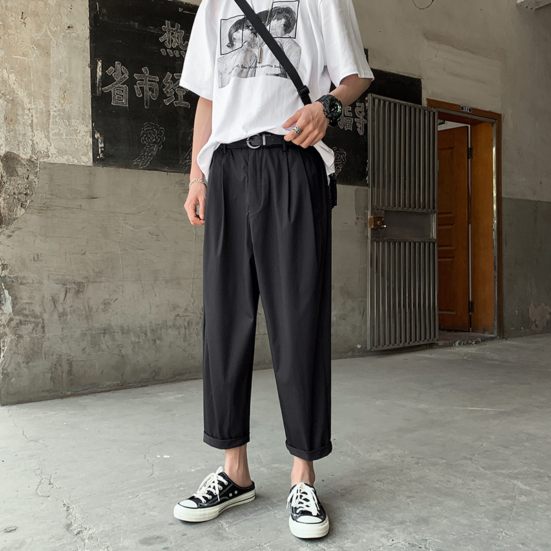 Summer Straight Pants Men's Fashion Solid Color Elastic Waist Casual Pants Men Streetwear Wild Loose Trousers Mens M-2XL