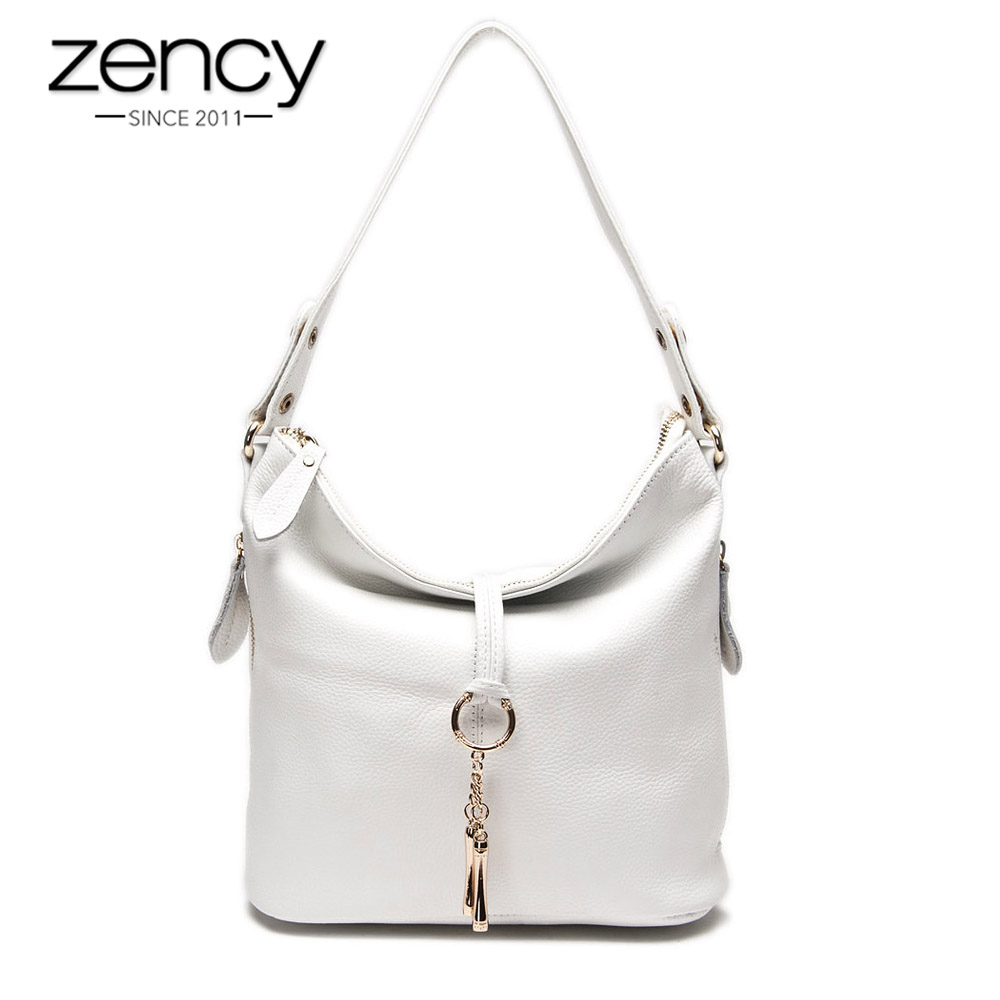 Zency New Fashion Women Shoulder Bag Metal Tassel 100% Genuine Leather Lady Crossbody Messenger Elegant Gift Handbag White