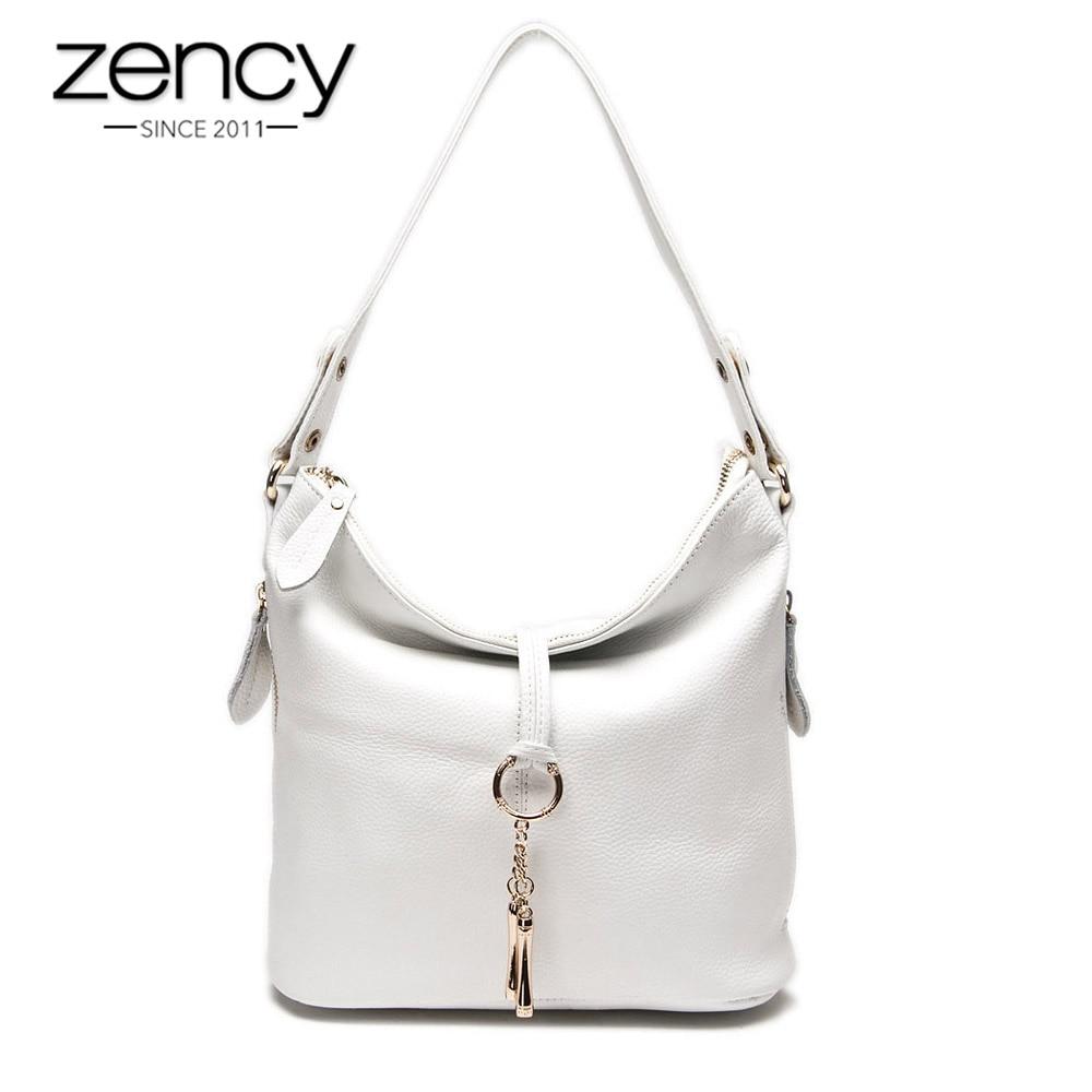 Zency New Fashion Women Shoulder Bag Metal Tassel 100% Genuine Leather Lady Crossbody Messenger Elegant Gift Handbag White