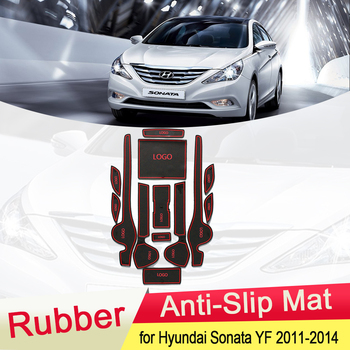 For Hyundai Sonata YF i45 2011 2012 2013 2014 Rubber Anti-slip Mat Door Groove Cup pad Gate slot Coaster Interior Accessories фото
