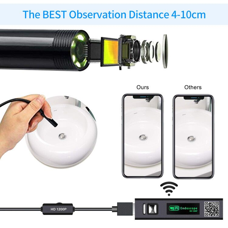 H02a4e965088842cc9020becf2e6c3090X 1200P Endoscope Camera Wireless Endoscope 2.0 MP HD Borescope Rigid Snake Cable for IOS iPhone Android Samsung Smartphone PC