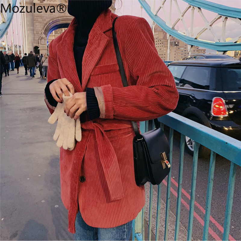 Mozuleva Notched Collar Single-breasted Pockets Female Blazers 2020 Winter Warm Casual Loose Lace-up Women Corduroy Suit Jackets