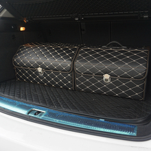 car storage box PU Leather Trunk Organizer Storage Bag color black gold for car accessories car organizer for smart 453 tiguan