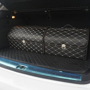 Image 1 - car storage box PU Leather Trunk Organizer Storage Bag color black gold for car accessories car organizer for smart 453 tiguan