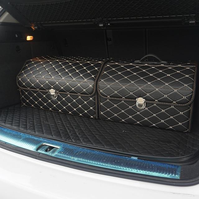 car storage box PU Leather Trunk Organizer Storage Bag color black gold for car accessories car organizer for smart 453 tiguan