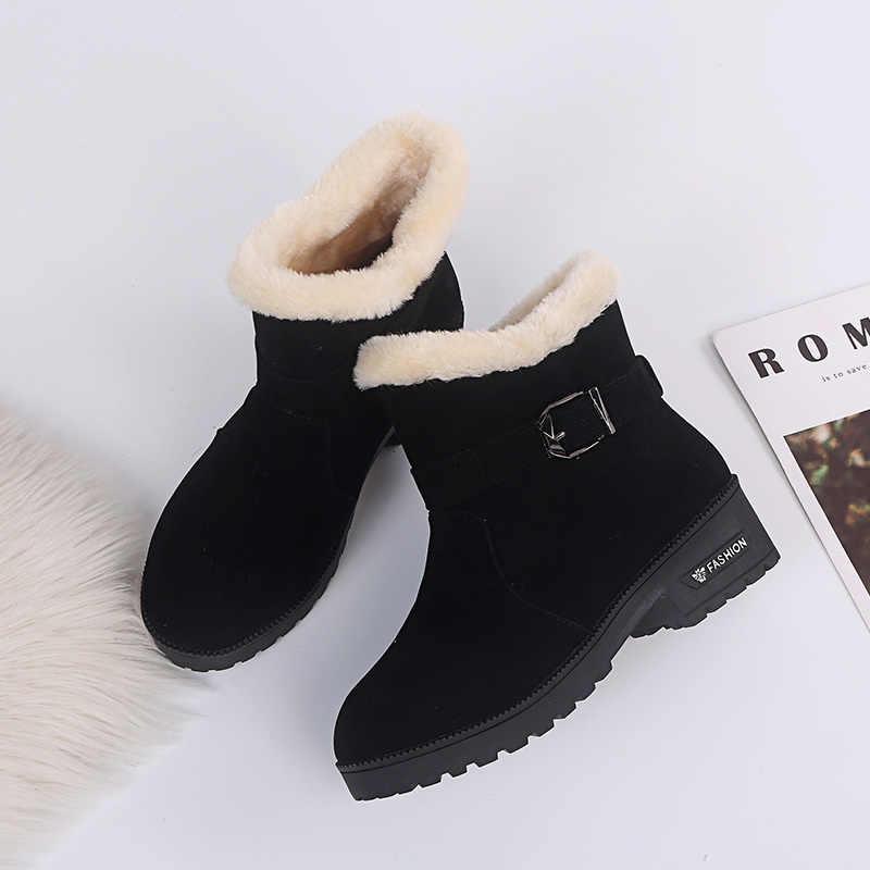 Aphixta artı boyutu 46 kar botları ayakkabı kadın yarım çizmeler kadınlar için toka sıcak kürk peluş nubuk ayakkabı kare topuk ayakkabı kadın