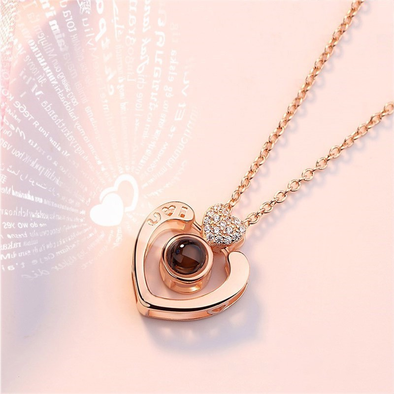 100 Languages I Love You Round Necklace Loving Memory Collarbone Fashion Jewelry Valentines Day Anniversary for Lovers Couples Women Girls Family