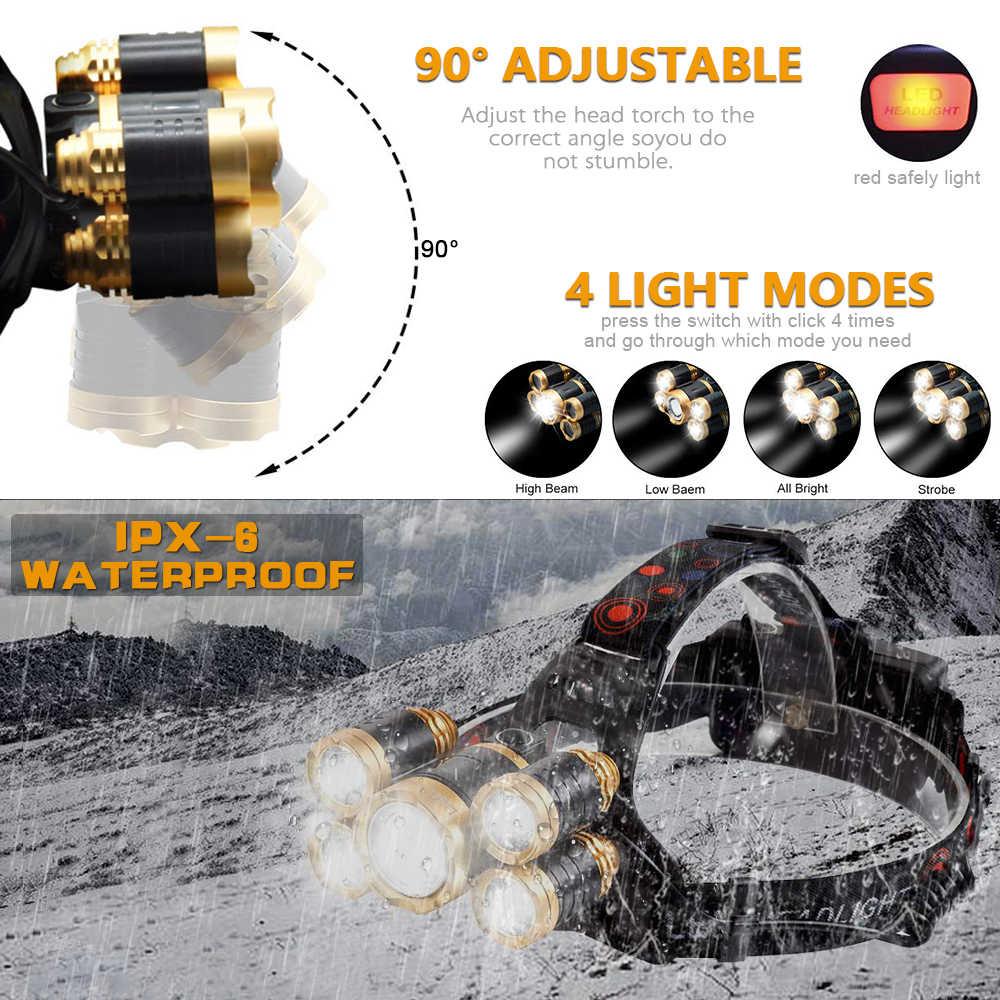 8000 Lumens 5 Led פנס XML T6 עוצמה ראש מנורת Led פנס עם 18650 סוללה פנס ראש אורות לטיולים