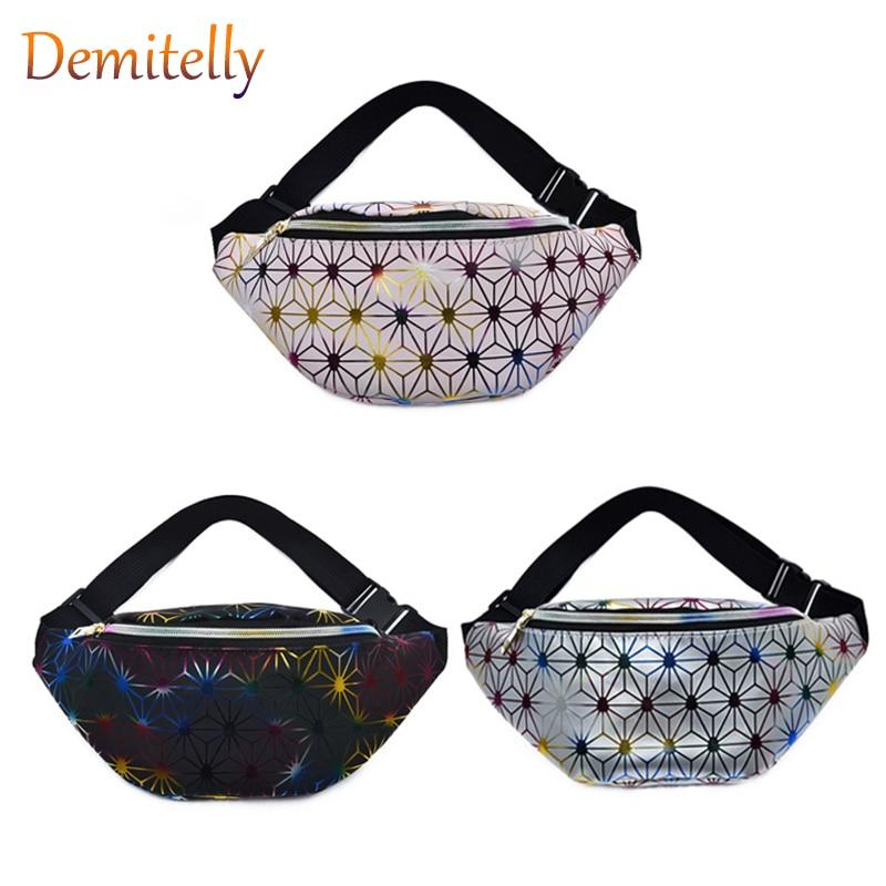 Holographic Waist Bags Women Pink Silver Fanny Bag Female Belt Bag Black Geometric Waist Bags Laser Chest Phone Pouch|Crossbody Bags| |  - title=