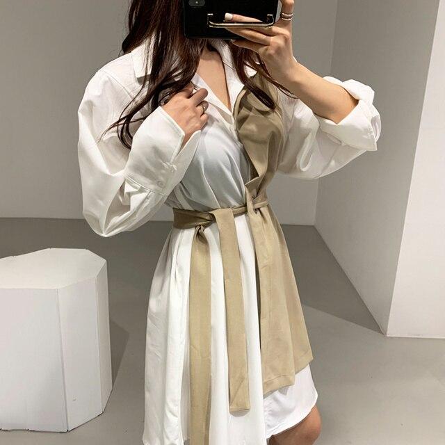 Gagaok Korean Style Spring Dress Women New 2020 Autumn Cotton Fake Two-Piece Ladies Shirt Dresses Long Sleeve Women Clothing 6