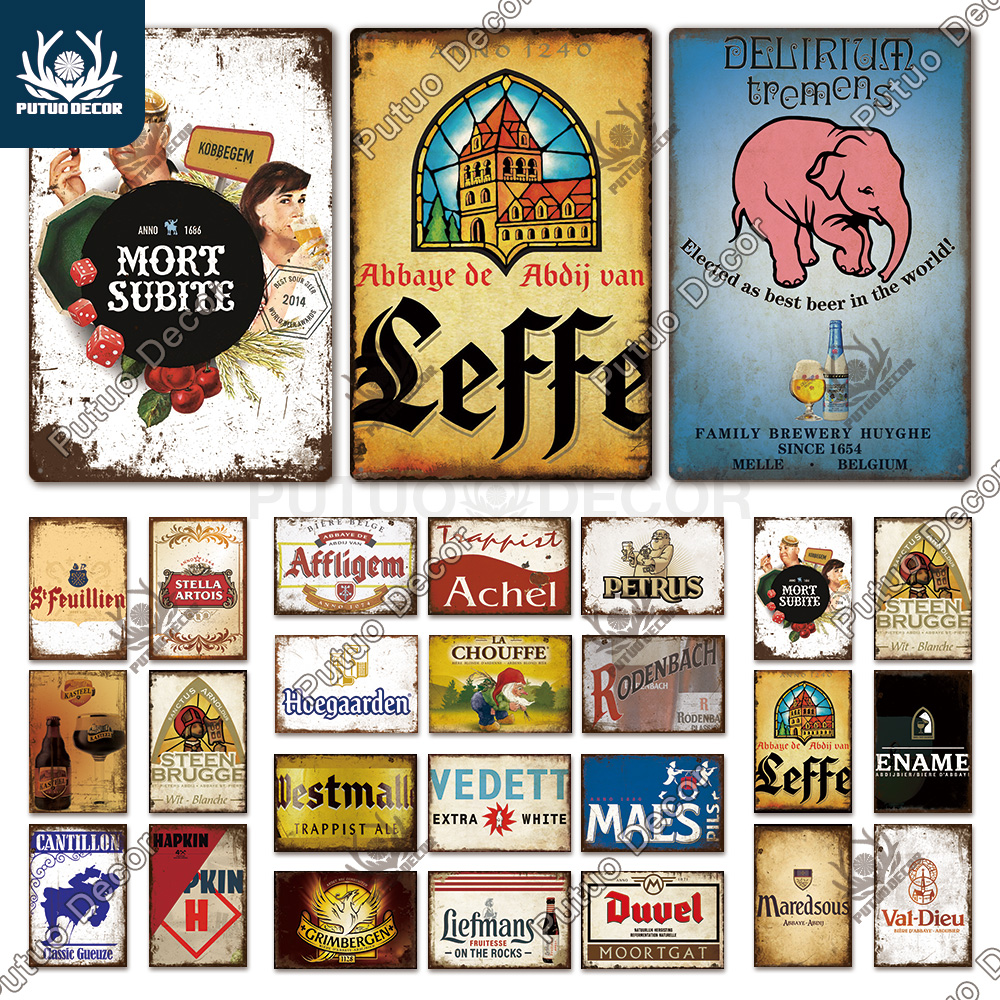 Putuo Decor Belgium Beer Brand Vintage Tin Sign Metal Sign Decorative Plaque Wall Decor Pub Bar Man Cave Club Decoration