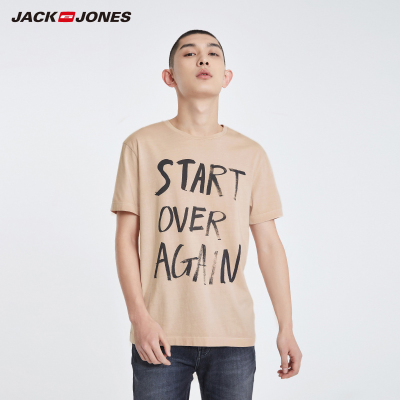 JackJones Men's 100% Cotton Letter Print Straight Fit Short-sleeved T-shirt Menswear Basic| 219101519