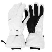 Guantes de esquí Extra gruesos blancos impermeables a prueba de viento cálido invierno deporte Snowboard moto de nieve montar en esquí caliente exterior