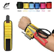 Geoeon pulsera magnética de poliéster para herramientas, 10 Uds., imanes fuertes, bolsa portátil, tornillos para herramientas de electricista, correa para herramientas de reparación de soporte