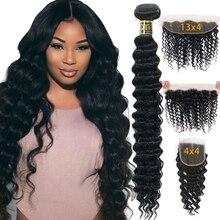 Loose עמוק גל חבילות עם סגירת שיער טבעי חבילות עם פרונטאלית ברזילאי שיער Weave חבילות עם סגירת Qt רמי שיער