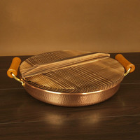 Pure hand made red copper thickened barbecue plate Double ear pan Pure copper beer cup kitchen pot cookware frying pan