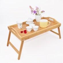 Bandeja portátil de madera de bambú para desayuno, mesa para servir comida, té, pierna plegable, para ordenador portátil