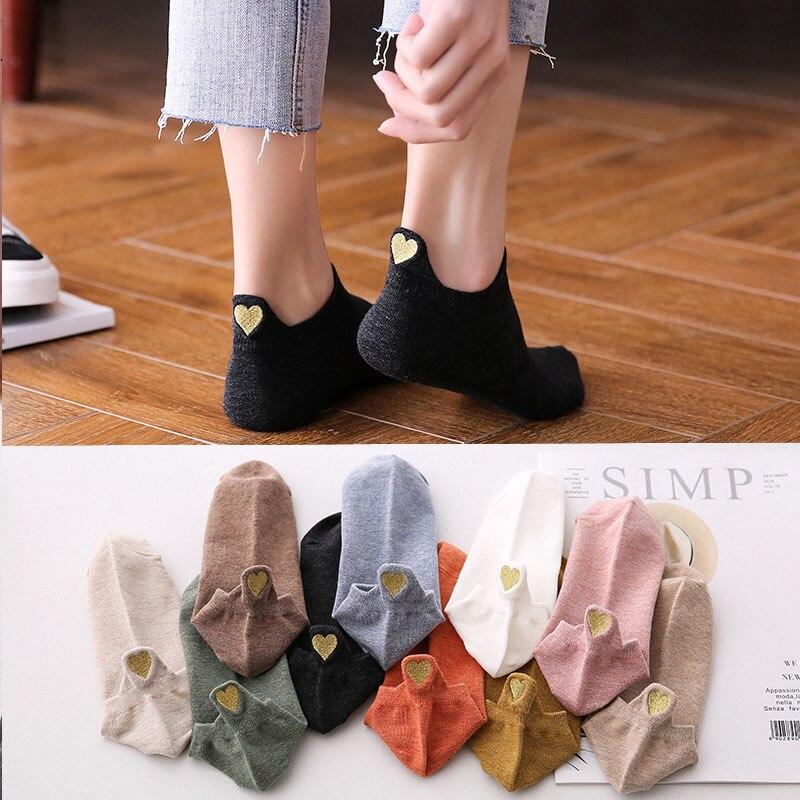 2019 New Spring Fashion Socks Woman1 Pair Ankle Socks Girls Cotton Color Novelty Women Fashion Cute Heart Casual Socks Lady