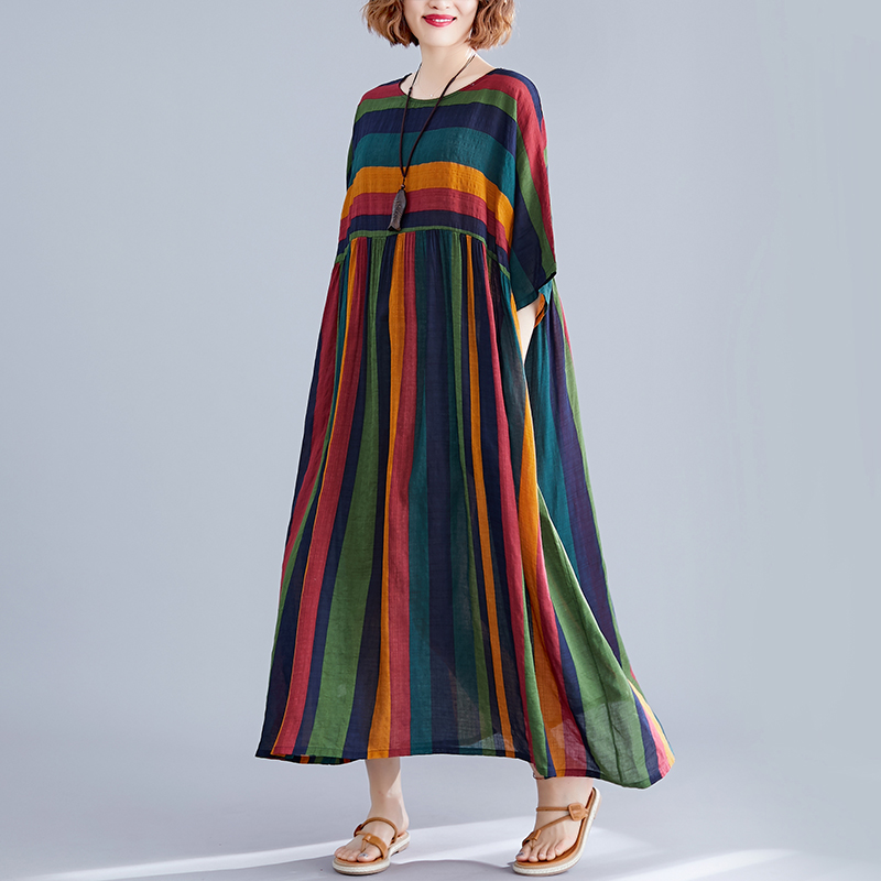 #0471 Colord Striped Dresses Women Short Sleeved Casual Vintage Linen Dress Long Loose O Neck Oversized Midi Dress Summer