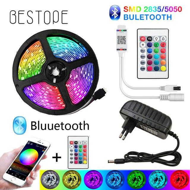 Светодиодная ленсветильник BESTOPE с Bluetooth, гибкая Водонепроницаемая светодиодная лента RGB 5050 SMD, 20 м, 5 м, 10 м, Диодная ленсветильник с управлением 12 В постоянного тока