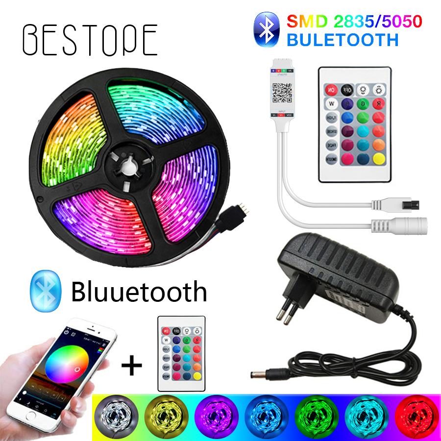BESTOPE Bluetooth LED Strip Lights 20M RGB 5050 SMD Flexible Ribbon Waterproof RGB LED Light 5M 10M Tape Diode DC 12V Control