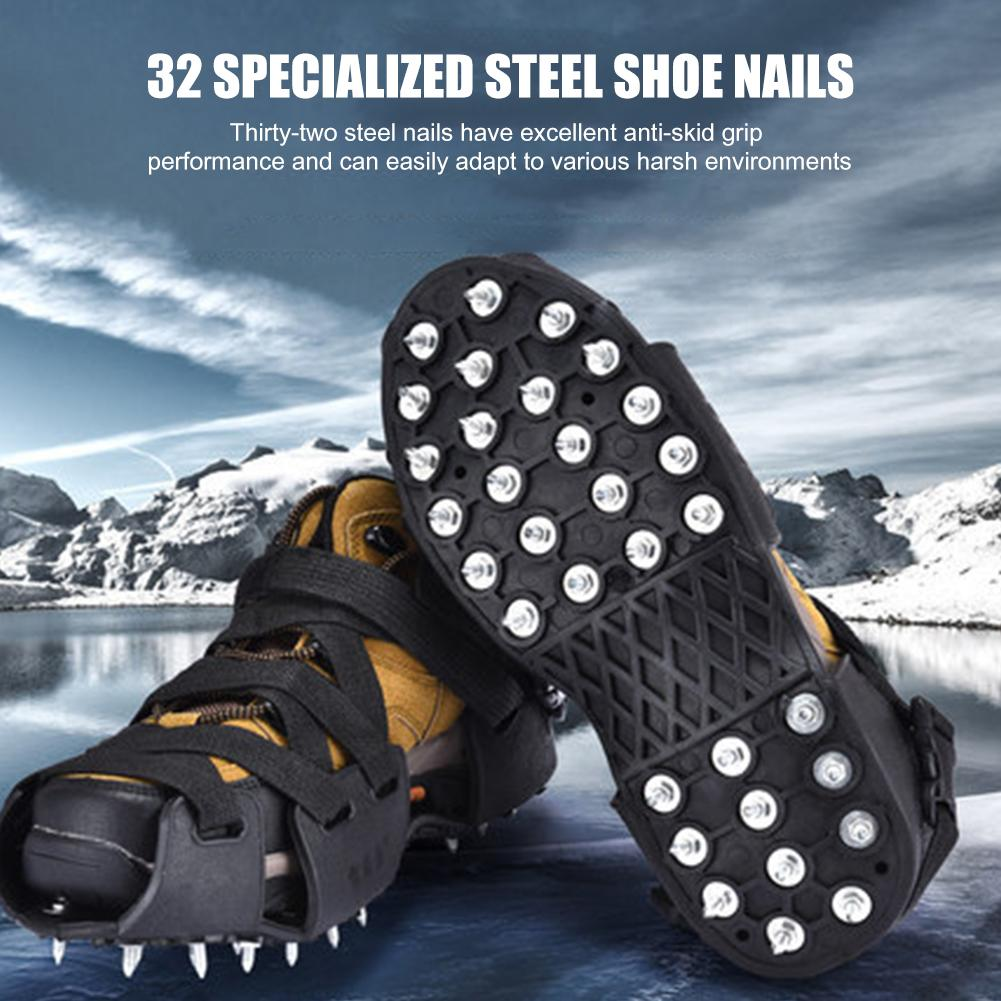 Fashion 32 Studs Crampons Spikes Anti Slip Walk Traction Cleats Shoe Boot Cover Ice Snow Grips For Outdoor Ski Hiking Travel