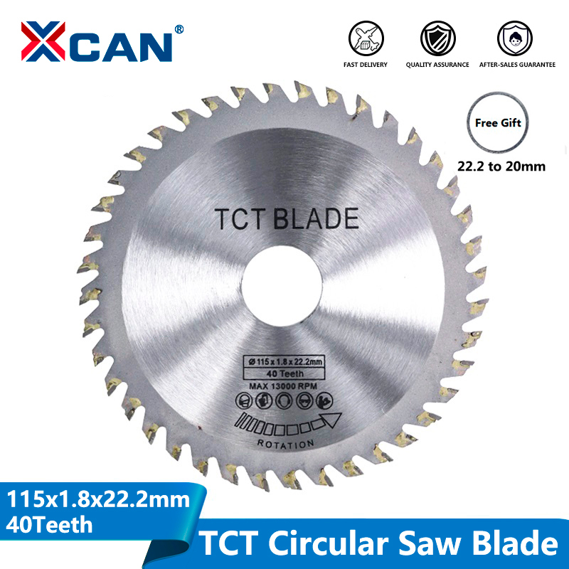 XCAN Diameter 115mm 40 Teeth TCT Circular Saw Blade Angle Grinder Saw Disc Carbide Tipped Wood Cutter Wood Cutting Disc