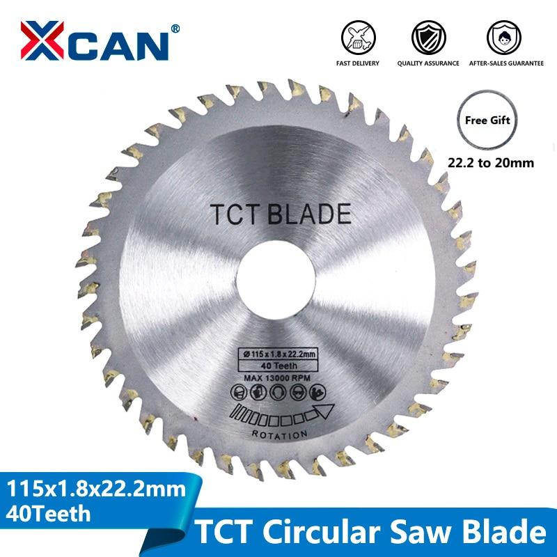 XCAN Diameter 115mm 40 Teeth TCT Circular Saw Blade Angle Grinder Saw Disc Carbide Tipped Wood Cutter Wood Cutting Disc