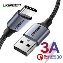 Ugreen usb tipo c cabo para xiaomi poco x3 usb c cabo para samsung s9 carregamento rápido fio de dados cabo de carga do telefone para huawei p40