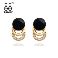 DREJEW Square Circle Statement Earrings 2019 Gold Black Rhinestone Alloy 925 Stud Earrings Sets for Women Wedding Jewelry HE7311 цена и фото
