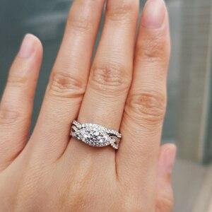 Image 5 - Newshe Solid 925 Sterling Zilveren Classic Trouwringen Voor Vrouwen Ronde Cut Aaa Cz Engagement Ring Set YR28003