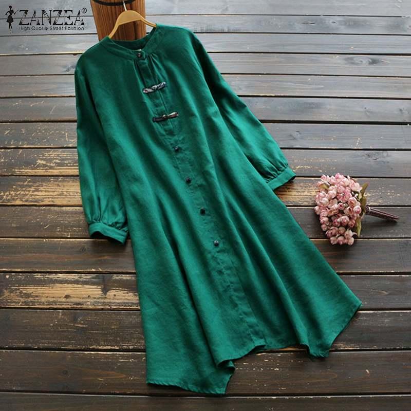 ZANZEA Women Spring Long Sleeve Cotton Linen Dress Vintage Buttons Down Shirt Vestido Summer Sundress Casual Tunic Top Plus Size