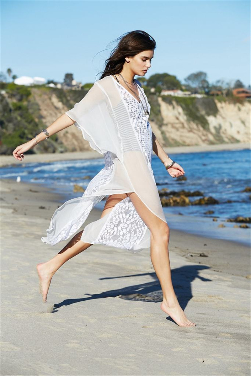 Europe And America Chiffon Spell Lace Leaf Embroidery Beach Skirt Seaside Holiday Long Skirts Bikini Cover-up Sun Shirt